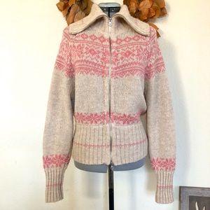 FREE PEOPLE Fair Isle Zip Up Cardigan Sweater